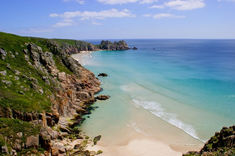 View looking from Porthcurno to Logan's Rock
