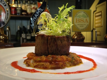 Fillet of Lincoln Red beef, potato rosti, tomato and fennel compote, roasted red pepper pureeBy Head Chef Phil Kent at The Bull & Swan in Lincolnshire