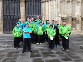 Our Kath P with her fellow Tourmakers outside York Minster
