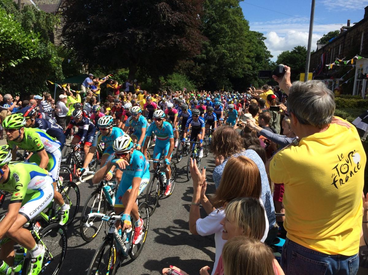 The peloton arrives in Otley