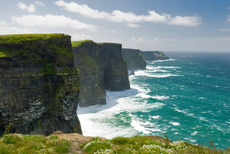 Enjoy breath-taking views of the Aran Islands and Galway mountain ranges or gaze at the horizon over the Atlantic from the stunning Cliffs of Moher in County Clare.