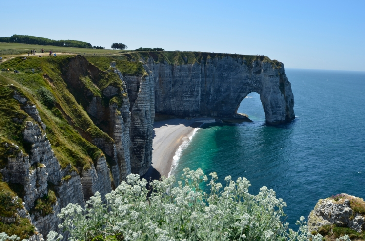 Normandy, beach and rock formation in Etretat