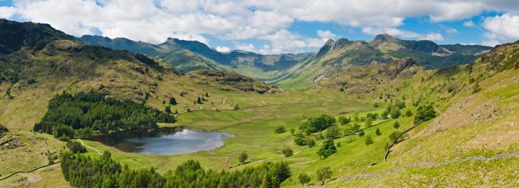 Lake District idyllic mountain valley vista summer peaks panorama