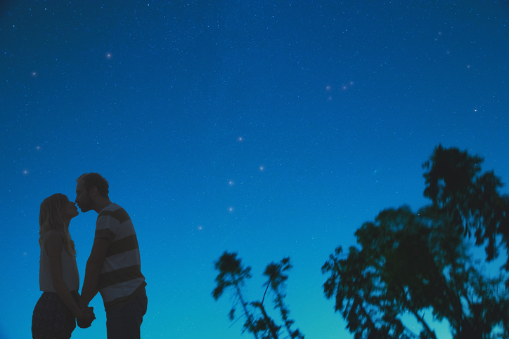 Silhouettes of a young couple under the starry sky. Elements of this image are my work.