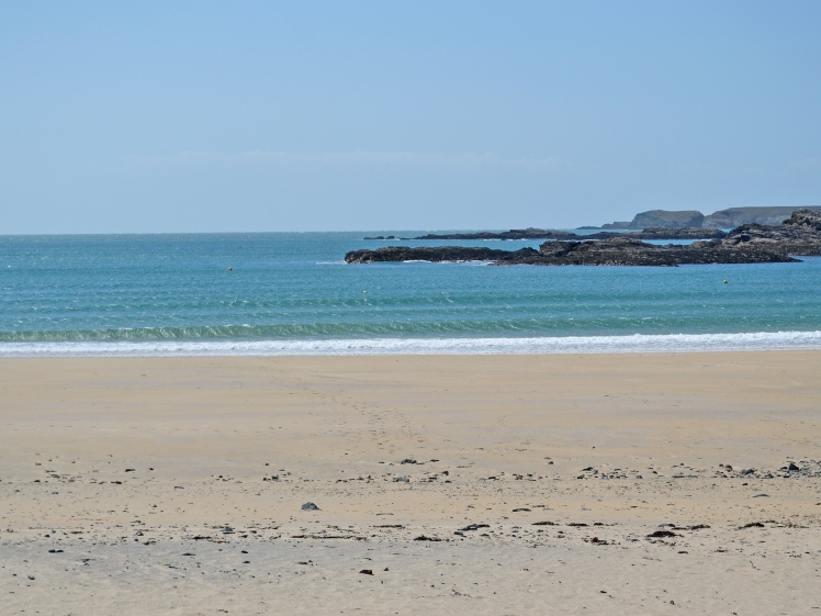 The lovely Trearddur Bay with protected bathing areas, cafe and facilities