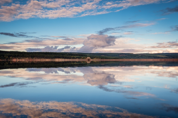 Dramatic sky reflected in Kielder Reservoir