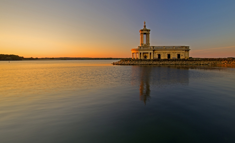 St Matthews Normanton Church sunset, Rutland Water